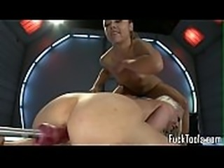 Toy babes getting pussies drilled by machine