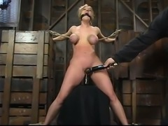 Blonde chick gets tortured and toyed with a vibrator