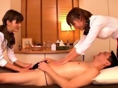 Cfnm threesome handjob