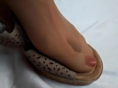 Wifes worn Mules Feet play