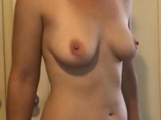 topless wife posing