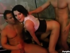 Numerous amount of lusty clubbing whores work on strong cocks greedily