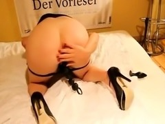 Amateur slut in high heels gets nailed in the ass doggystyle