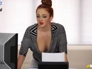 Eye catching red haired babe Kara Carter and her cleverage gonna make you jizz