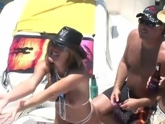 Depraved bitches get too horny as they expose natural tits outdoors