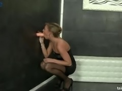 Lewd horny bitch is eager to masturbate a fake cock for fake cum