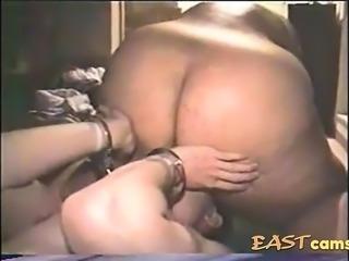 Amateur Japanese BBW face sits on slave