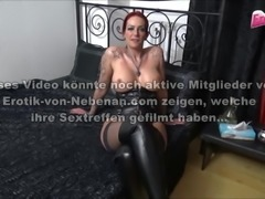 German Latex Milf with Huge Silicone tits threesome