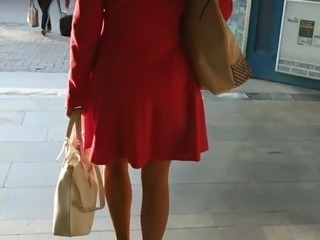 Pantyhose and heels on the escalator