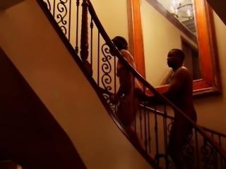 Black swinger couple eases their nerves