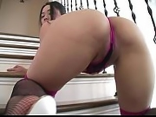 Kurumi Tomita High-leg lingerie suit purple and black legs,ass-fetish image...