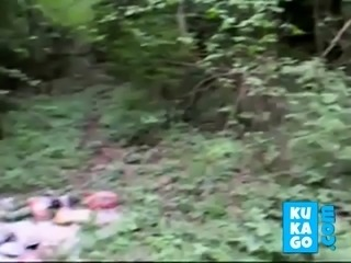 2 girls sucking cock in a forest