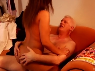Grandpa bangs a barely legal chick and nearly has a heart attack