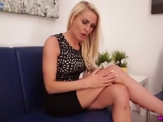 Svelte alluring blonde nympho Fergie is all nude and she tickles her twat