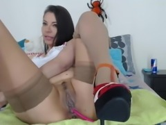 Brunette playing with her big wet pussy lips