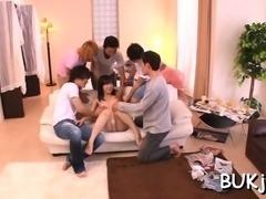 Oriental wife gets instant loads of jizz in bukkake xxx