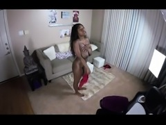 Busty ebony teen has a white cock taking her pussy to climax