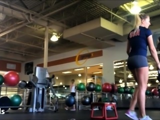 Voyeur finds a slender blonde with a fabulous ass in the gym