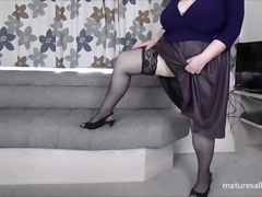 Showing off my legs in lacey stockings