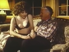 Retro porn of tight brunette bitch getting screwed at the car dealing center