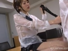 Oiled up Japanese college girl gets her body fondled through clothes