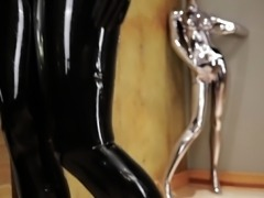 Kinky natural blonde masturbates in latex fetish video
