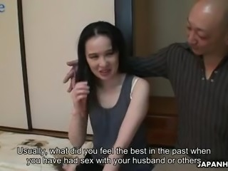 Bald older man eats and fucks unshaved pussy of Junko Nishimura mish