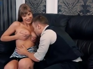 Awesome buxom beauty Eva Kays gives titjob before some good doggy
