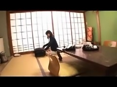 Two lustful and lonely Japanese housewives share a hard dick