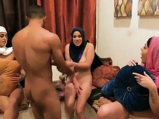 Cute orgy Hot arab ladies try foursome