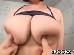 Captivating japanese women using the big tits on a huge dick