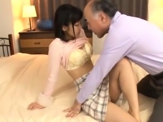 Sweet Asian girl with small tits has sex with an older man