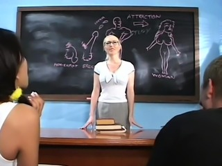 Delightsome teacher gives a sexy blow job and fingers pussy
