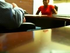 Hot black girl works her magic on a white dick on hidden cam