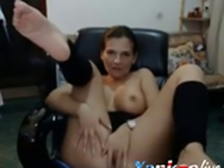 Mother almost gets caught by son getting nasty on livecam