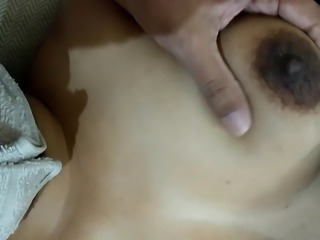 Indian desi sexy wife boob press