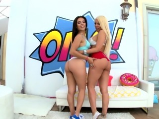 SWALLOWED Adriana Chechik and Kissa Sins tag team blowjob