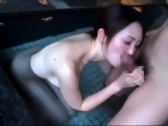 Asian cutie gets her hairy peach licked, fingered and fucked