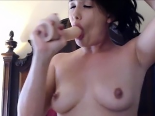 Hard Blowjob with Dildo Spit Dripping on Tits