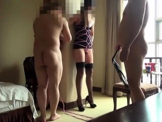 Two masked Japanese nymphos getting drilled hard together