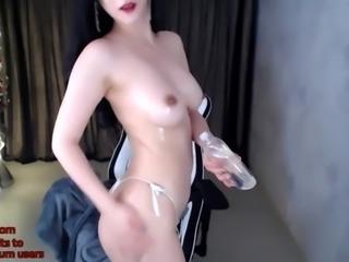 Sexy korean girl webcam plays big dildo