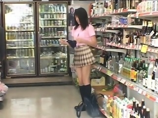 Cute Oriental schoolgirl feeds her lust for cock in public
