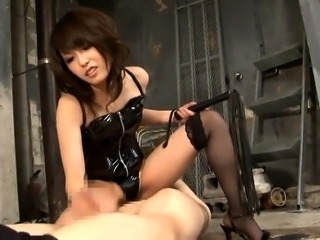Dominant Oriental babes in sexy lingerie punish horny slaves
