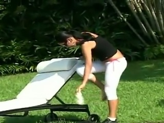 Tanned Bianca Lopes rides big hard cock by the pool