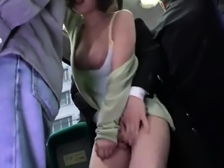 Big breasted Japanese beauty takes a deep fucking in public
