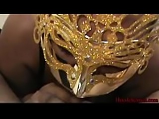 Masked Ebony Chick Sucks Dick on Hoodcherries