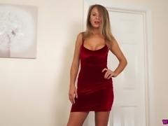 Fabulous busty blonde beauty Mia wanks a fake cock like a real one