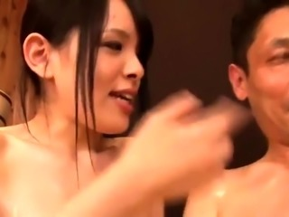 Two bodacious Oriental beauties work their magic on a cock
