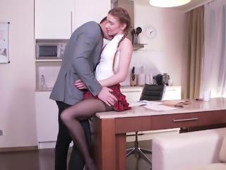 Teen in pantyhose fucks her tutor