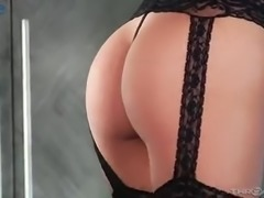 Wearing explicit sexy black lingerie Gianna Dior gives sensual blowjob